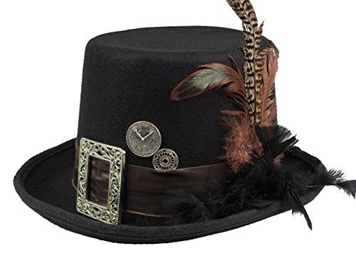 Boland 54501 – Sombrero Plumepunk con ruedas dentadas, negro, steampunk, cilindro, sombrero, accesorios, fiesta temática, carnaval