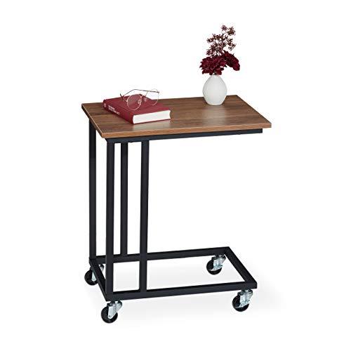 Relaxdays Beistelltisch mit Rollen, eckige Tischplatte in Holzoptik, Stahl, H x B x T: 60 x 50 x 35 cm, braun/schwarz, 1 Stück