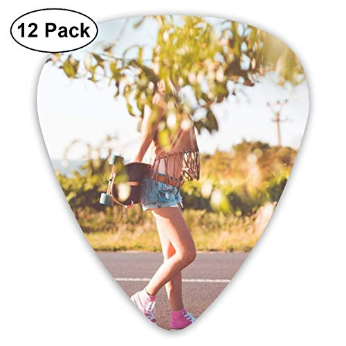 Slaytio 12 Stück Gitarrenplektren Summer-Ride-Longboard-Girl_Free_Stock_Photos_Picjumbo_Hnck5714-2210 x 1474 0,96 mm, 0,71 mm, 0,46 mm Mode für Gitarre, Mandoline und Bass, Your Electric