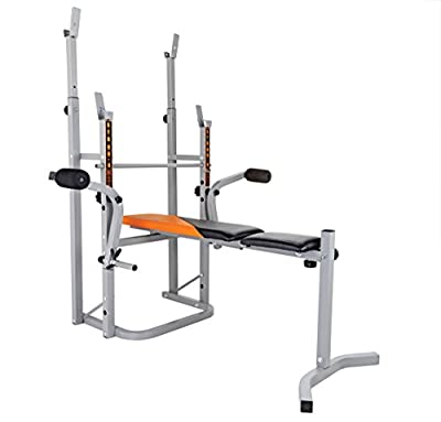 V-fit STB09-4 Herculean Folding Weight Bench with Lat Tower, Leg Unit & Preacher Curl by V-Fit