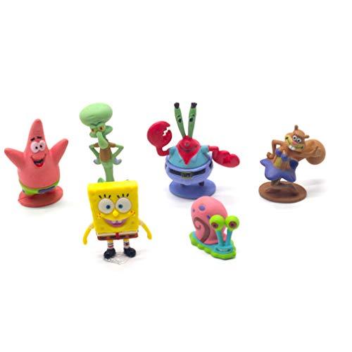 EASTVAPS Juguete 6 unids / Set Bob Esponja Bob Esponja Miniaturas PVC Figuras de Acción Sandy Patrick Star Anime Toy Gift