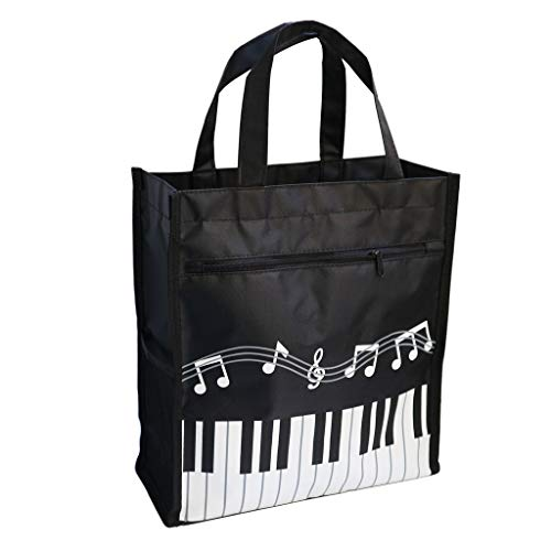 Music Bag Handbag Waterproof Oxford Cloth Music Clef Piano Key Pattern For Learning Shopping Travel (Black)