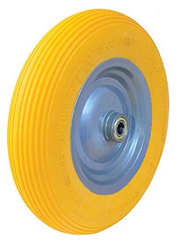 1 PU-Schubkarrenrad 4.80/4.00-8, Stahlfelge grau gepulvert, Kugellager, max.180Kg, pannensicher, Hersteller HKB, Artikel-Nr. 161820
