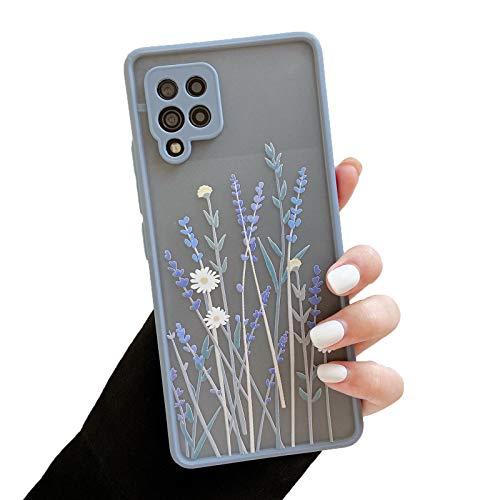 ZTOFERA Hülle für Samsung A42, Durchscheinend Liquid Silikon Hülle mit Blume Design, Weich Flexibel Anti-Kratzer Schutzhülle für Samsung Galaxy A42 5G - Lila