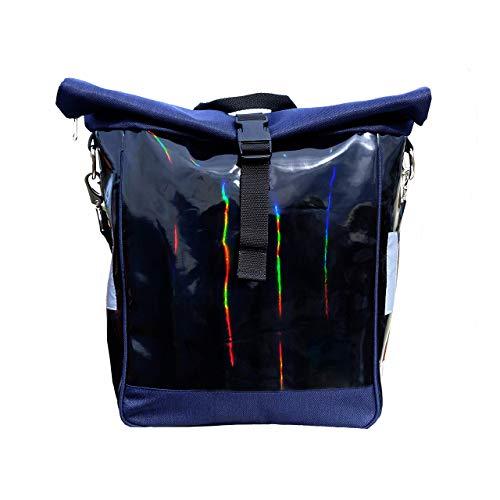 IKURI Fahrradtasche für Gepäckträger Satteltasche Einzeltasche Packtasche, abnehmbar, mit Tragegurt zum Umhängen, aus Plane, UNISEX, Wasserdicht, Modell Arcoiris