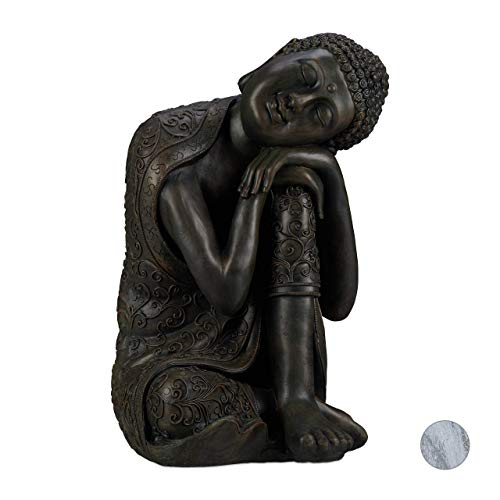relaxdays Estatua Buda pensativo para jardín o salón, Resina Sintética, Gris Oscuro, 60 cm, cerámica