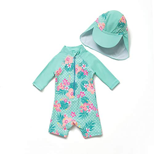 Baby Mädchen Ein stück 3/4 der ärmellänge UV-Schutz 50+ Badeanzug MIT Einem Reißverschluss(Grüne-Blumen,24-36M)