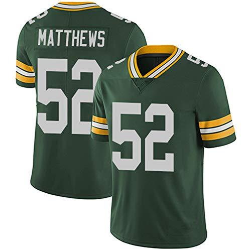 YUYUBAOER Herren Rugby Trikot Clay Matthews American Football Trikot, 52 Green Bay Packers Rugby Trikot, Herren Fans Jersey Sweatshirt-Green-M(175-180cm)