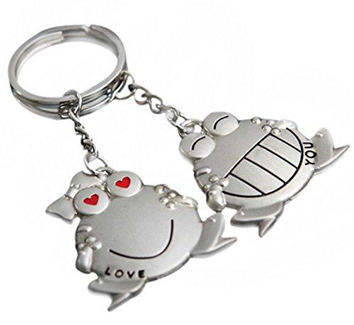 2 llaveros para pareja de ranas, Love You, acero