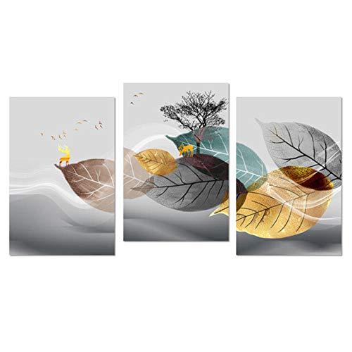 XRKITGD Abstrakte Schwarz-Weiß-Pflanzenplakat Leinwanddruck Blätter Wandkunst Bild Modernes minimalistisches Wohnzimmer dekorative Malerei 40x60cmx3 ungerahmt