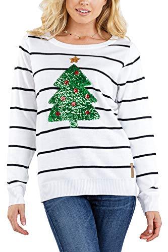 Tipsy Elves Women's Sequin Christmas Tree Sweater - Cute Sequin Tree Christmas Sweater: XS White