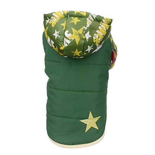 Balacoo hundemantel Sterne Muster weich warm Haustier hundeweste Hund Hoodies Wetter hundekleidung mit Hut für Haustier Hunde Katze (grün - XL)
