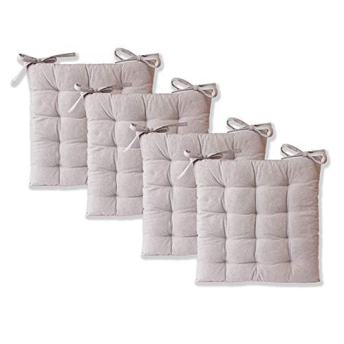 etérea Sitzkissen - Ilka Stuhlkissen Serie - Boden-Kissen mit Bändern für Indoor und Outdoor, 100% Baumwolle nach Ökotex 100, Größe: 4er Set - 40x40 cm, Farbe: Grau