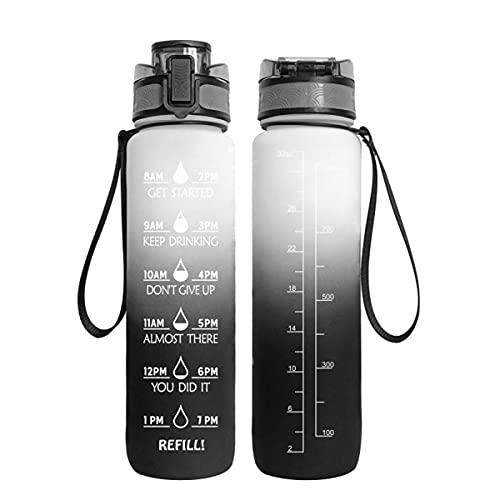 WAYKShop Botella de Agua Motivacional con Marcas de Tiempo y Pajita,1 litros Grande Jarra de Agua Deportiva con asa, sin BPA, Botellas de Agua a Prueba de Fugas para Deportes al Aire Libre,White Gray
