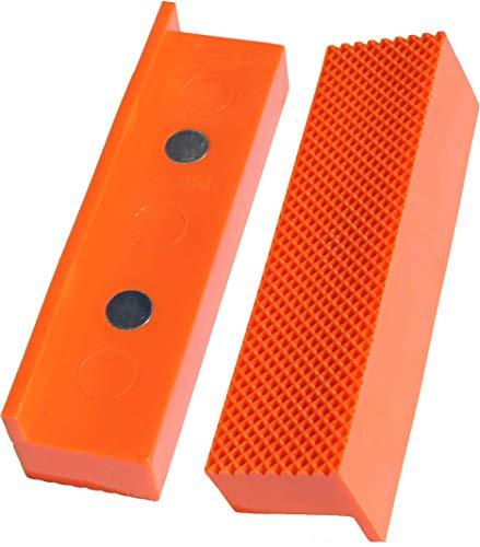 Weiche Schraubstock-Schutzbacken im Waffel-Design | GRIP&BENDER 100mm-125mm | Magnetisch| Schonbacken aus TPU-Kunststoff | Diese Spannbacken schützen Ihr Werkstück (111MM)