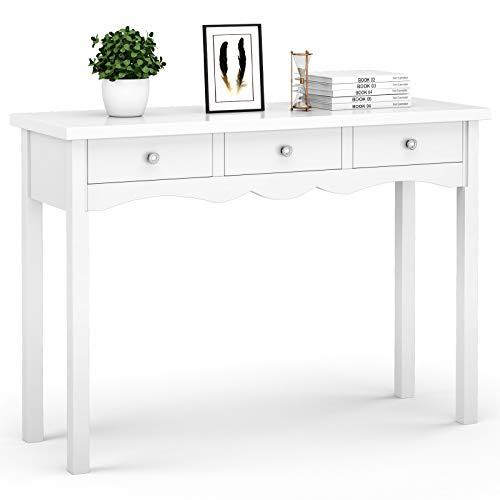 GOPLUS Konsolentisch Weiß, Ablagetisch mit 3 Schubladen, Aribeitstisch aus Holz, Schminktisch für...