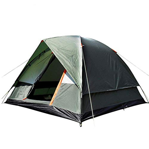 Camping Tents, 3-4 People Camping Dome Tent | Outdoor Wind With Snow Skirt Double-layer Hiking Tent, Green