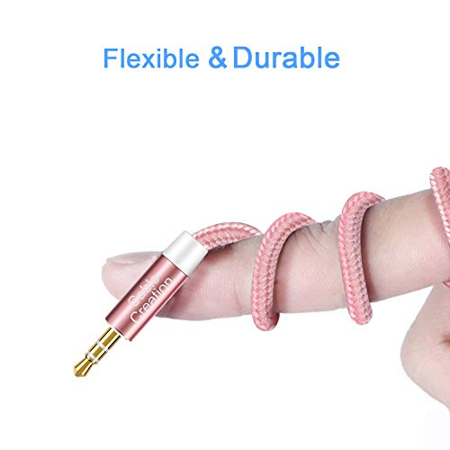 CableCreation 3.5mm Audio Auxiliary Cable, 3 Feet Slim and Soft Rose Gold Aux Cable Compatible with Headphones, Phones, Home/Car Stereos & More, [2-Pack, 0.9M]