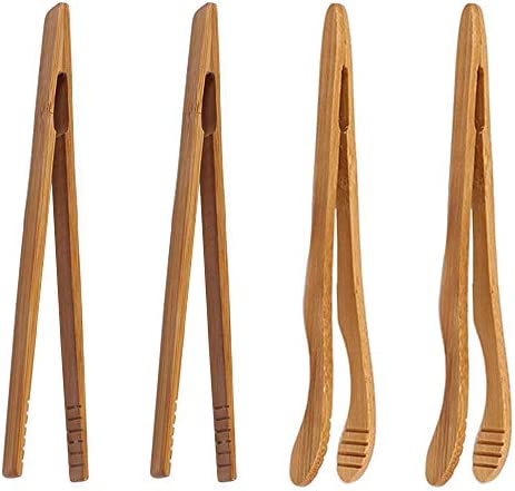 4 pack Bamboo Toaster Tongs 7 Reusable Wood Cooking Tongs Ideal Kitchen Utensil For Cheese Bacon product image