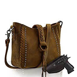 Genuine Leather Concealed Carry Hobo Purse For Women Studded Cowhide Ladies Shoulder Bag With Crossbody Strap