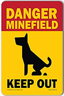 Funny HAHA USA Dog Poop Sign for Yard Metal Sign 7.75 x 11.75 Danger Minefield by Funny HAHA