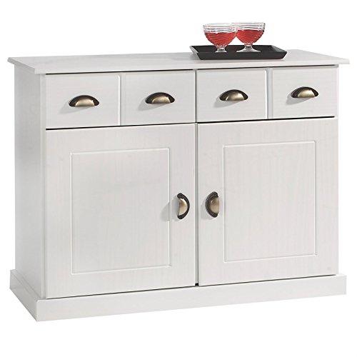 IDIMEX Buffet Paris Commode bahut vaisselier avec 2 Portes battantes et 2 tiroirs pin Massif lasuré Blanc