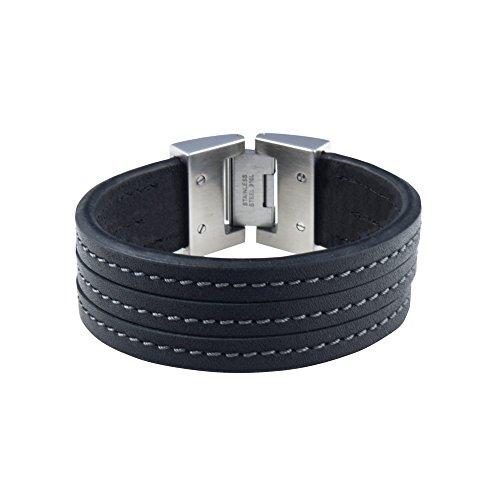 DOOSTI Armband Leder mit Edelstahlschließe Schwarz - mit Gratis Gravur