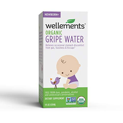 Wellements Organic Gripe Water, 4 Fl Oz, Eases Baby's Stomach Discomfort and...