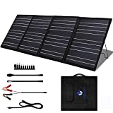 MEGSUN 100 Watt 18V Portable Foldable Solar Panel Charger Kit for 200/300/500/1000W Power Station, with 2 USB and 1 DC Outputs for Power Station Generator 12V Battery RV Outdoor Camping (100W Black)