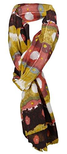 TigerTie sjaal in oker donkerbruin roze grijs blauw geel met patroon - maat 180 x 100 cm.
