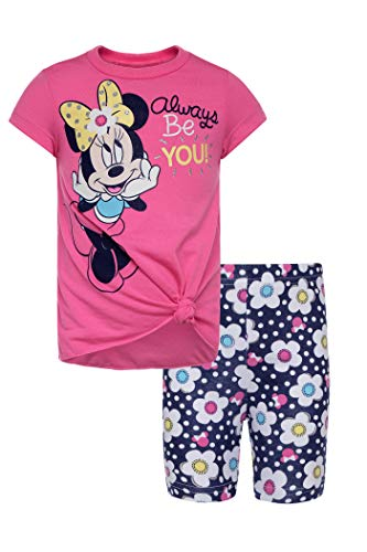 Disney Minnie Mouse Baby Infant Girls' High-Low Tunic & Bike Shorts Set (Hot Pink, 24 Months)