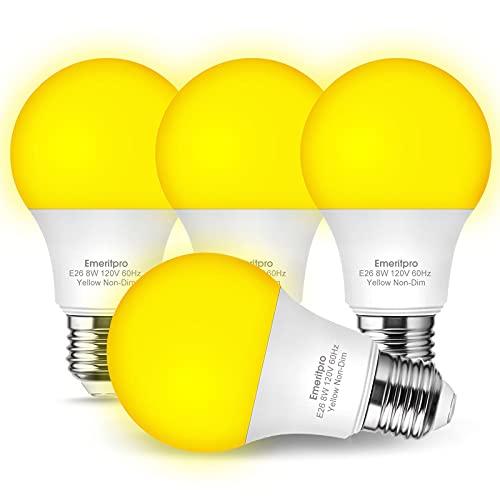 Emeritpro 60 Watt Equivalent A19 LED Yellow Bug Lights, No Blue Light Outdoor 750LM Amber Bug Light Bulbs, 8W E26 Medium Base Light Safe Darkroom Yellow Bulb for Home Lighting, Porch, Bedroom, 4 Pack