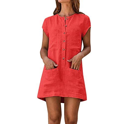 Sylar Vestidos Mujer Verano, Vestidos Playa Mujer Cortos Manga Corta con Bolsillos Vestidos Camiseros Mujer con Botóns Mini Vestido Casual De Mujer Color Sólido Vestidos De Fiesta Largos De Noche