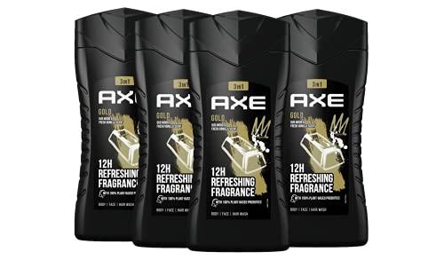 Axe Gold 3in1 Duschgel Herren 4er Pack dermatologisch getestet 12h angenehmer Duft auf Pflanzenbasis (4 x 250 ml)