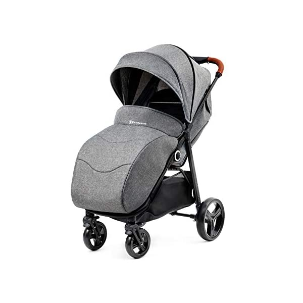 Kinderkraft Lightweight Stroller Grande, Stylish Pushchair, Baby Buggy, Foldable, Lying Position, Big Ajustable Hood, with Accessories, Rain Cover, Footmuff, from Birth to 3.5 Years, 0-15 kg, Gray kk KinderKraft BIG, ADJUSTMENT HOOD - Very large sun/wind shade, which may be extended by using the zip fastener COMFORT AND CONVENIENCE - Wide seat providing comfort and ensuring a long period of using the pushchair EASY HANDLING - Front swivel wheels provide easy manoeuvring, they may be locked for the straight-ahead drive. All four wheels with bearings and shock absorbers 4