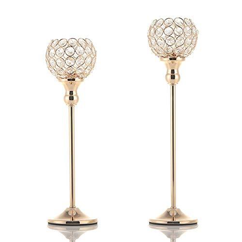 VINCIGANT Kerzenständer Gold, Kristall Kerzenhalter Vintage, Deko Partylite 2er Set 38cm&43cm