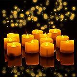 Velas LED con temporizador, 12 unidades de luces LED sin llama, parpadeantes eléctricas, 6 horas encendidas - 18 horas apagadas, funciona con pilas, decoración para Navidad, Pascua, bodas, fiestas
