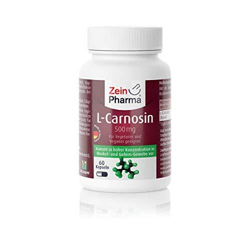 ZeinPharma L-Carnosin 500 mg 60 Kapseln (Monatspackung) Glutenfrei, vegan, koscher & halal Hergestellt in Deutschland, 36 g