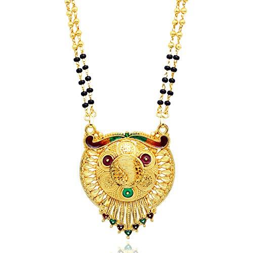 SANARA indio Bollywood chapado en oro exclusivo Meenakari Sun Style hermosa mujer boda Mangalstura colgante joyería