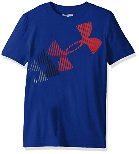 Under Armour Boys Logo Advance Short Sleeve Athletic Shirt, Royal /Red, Youth Small