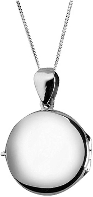 Orton West Womens Plain Round Locket  Silver