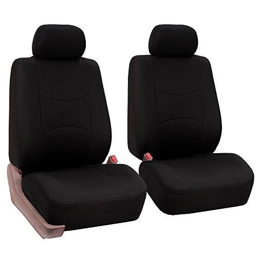 FH-FB050102 Flat Cloth Pair Bucket Seat Covers Black Color