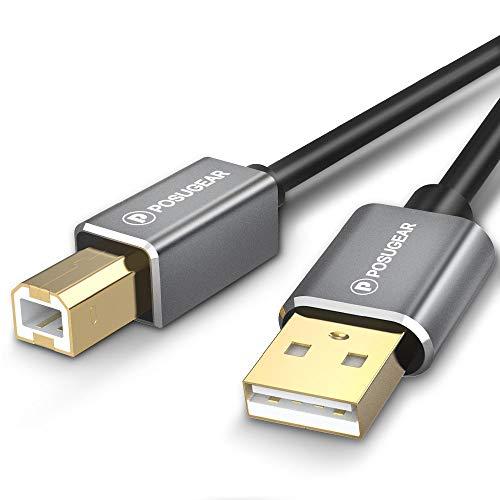 POSUGEAR [3M] Cavo Stampante 3 Metri USB 2.0 Cavetto Placcato Oro per Stampanti A Maschio/B Maschio Compatibile con HP, Canon, Lexmark, dell, Xerox, Samsung, etc(3M)