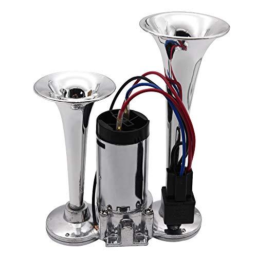 Bocina Coche Conjunto de bocina de aire de coche de doble tono con doble tono universal 12V con cables y relé para camión de barcos de coche para motocicletas Bocinas De Coche
