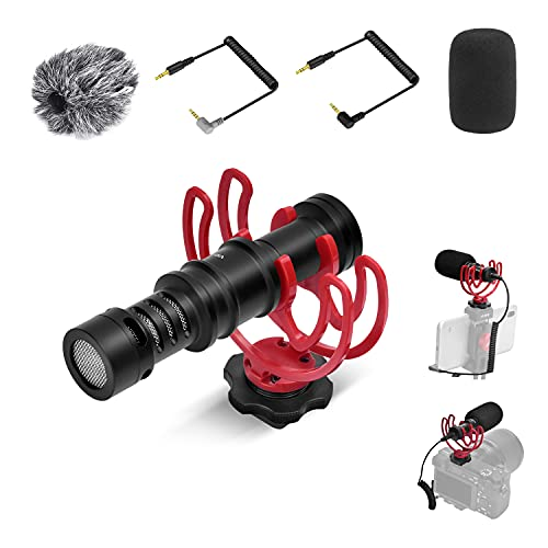 Kamera Mikrofon VF-VM10,Schrotflinten Videomikrofon mit Professioneller Stoßdämpferhalterung,Externes Mikrofon Ist Geeignet für Nikon,Canon,Sony DSLR Kamera/Camcorder/Phone für YouTube Vlog-Streaming