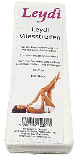 100 Leydi Vliesstreifen - für die Haarentfernung mit Warmwachs und Zuckerpaste