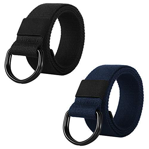 ITIEZY Militär Leinwand Gürtel Stoffgürtel Outdoor Jeansgürtel für Damen und Herren mit Doppel D-ringe Schnalle 2 PCS, Gr.-Länge: 130cm, 2 Pack(schwarz + Blau)
