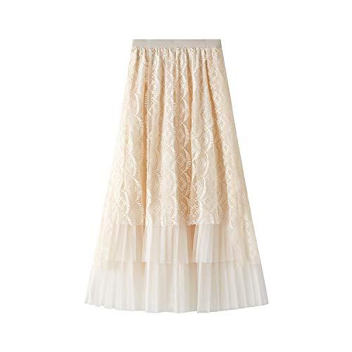 ZZLBUF Las Mujeres De Encaje Falda Larga De Costuras Irregulares Color Sólido Cintura Elástica Vestido De Tul Ropa De Primavera