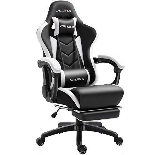 Dowinx Gaming Stuhl Ergonomischer Büro Lehnstuhl für PC mit Massage Lordosenstütze, Racing Stil Sessel PU-Leder-E-Sport-Gamer Stühle mit Ausziehbarem Fußraste (schwarz&weiß)
