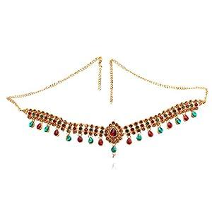 Trendy Kundan Red and Green Waist Belt Kamarbandh for Womens and Girl